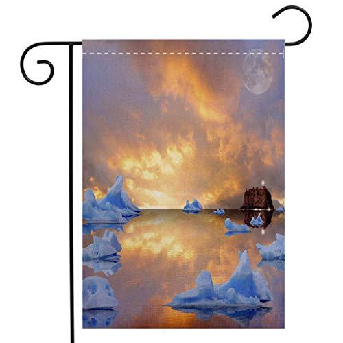 (BEIVIVI Creative Home Garden Flag Icebergs Welcome House Flag for Patio Lawn Outdoor Home Decor)