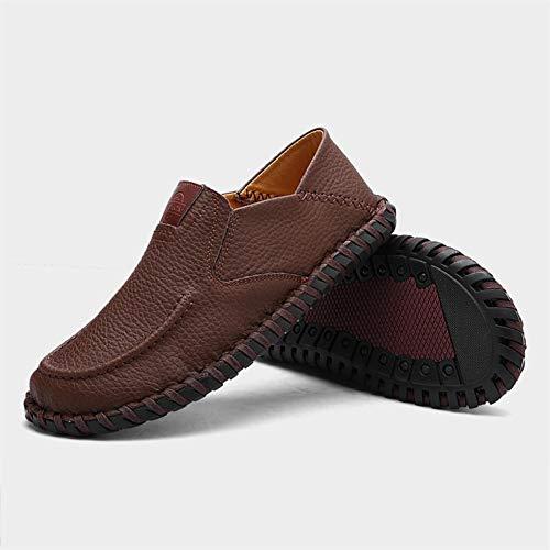 Zapatos Marrón La Casuales Moda Deslizan Los Primavera Mocasín De Conducción Comodidad Caída Cuero Hombres BdfHOAwq
