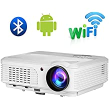 WiFi Bluetooth Outdoor Movie Projector Wireless Screen Mirroring 1080P HDMI Video Projector LCD Display HD USB VGA AV Dual USB Inputs Support Airplay DLNA Miracast for IOS Android Smartphone TV