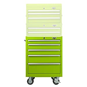 Viper Tool Storage LB2605R 26-Inch 5-Drawer 18G Steel Rolling Cabinet, Lime Green