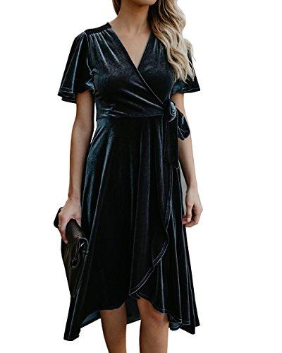 Short Sleeve Velvet Skirt - FISACE Crushed Velvet Dress V-Neck Pleated Wrap Short Sleeve Tie Waist Elegant Flowy Midi Dresses