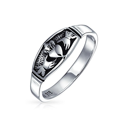 Personalized BFF Celtic Irish Friendship Promise Claddagh Wedding Band Ring Oxidized Sterling Silver Custom Engraved