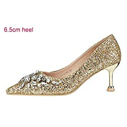 Women's High Heel Gold Stiletto Crystal Shoes