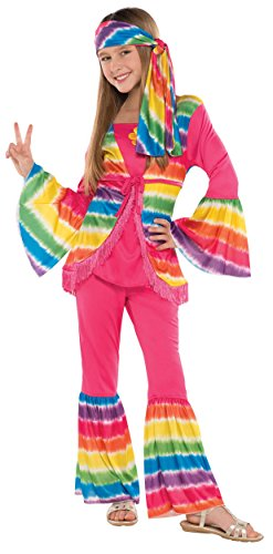 Amscan Disco 70's Party Pink Groovy Hippie Costume (2 Piece), 17.5