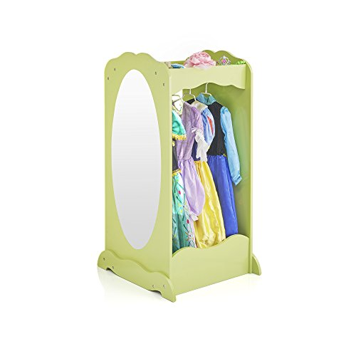 Guidecraft Dress Up Cubby Center – Light Green: Kids Armoire, Toddlers Bedroom Dresser with Mirror - Wooden Storage Wardrobe for Clothes, Shoes and Accessoreis