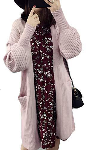 BSCOOLレディース ニット カーディガン ゆったり ロングコート 秋 冬 コート 無地 韓国ファッション コーディガン ニット セーター
