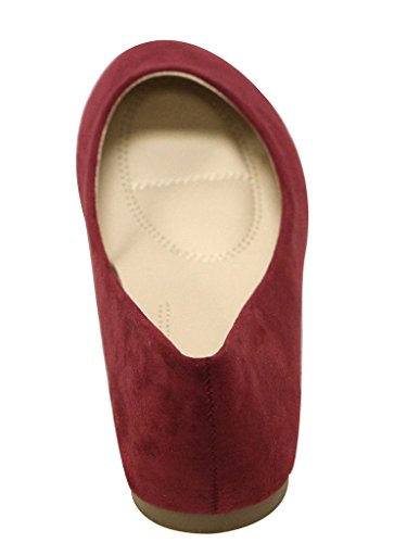 Marie Ballet Round On Stacy Toe 12 Flat Women's Shoes Slip Bella Wine d0Iq8w5I