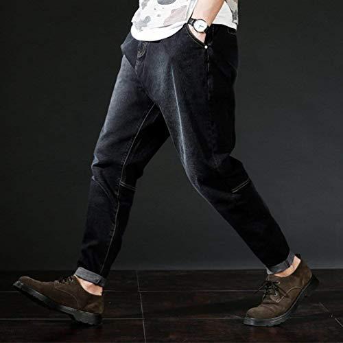 Classiche In Harem Alla Allentati Alta A Jeans Coulisse Di Ragazzi Nero Stile Moda Con Vita Pantaloni vqaX8X