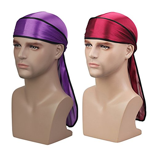 - Silky Soft Durag (2PCS) with Extra Long Tail and Wide Straps Headwrap Du-Rag for 360 Waves,Free Size,Wine Black+purple Black