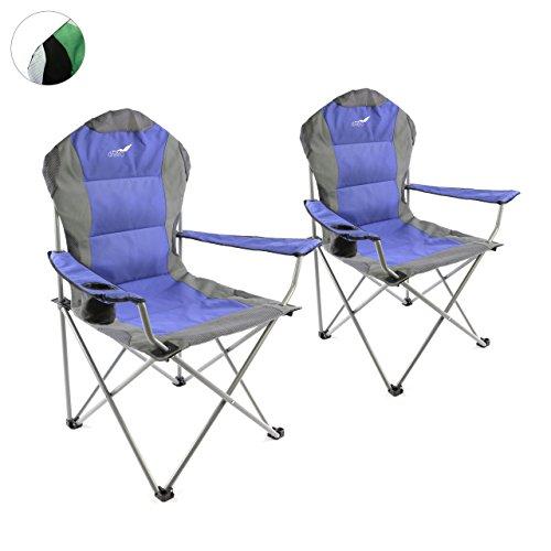 Divero 2er Set Deluxe Campingstuhl blau grau Faltstuhl Angelstuhl gepolstert bis 130 kg