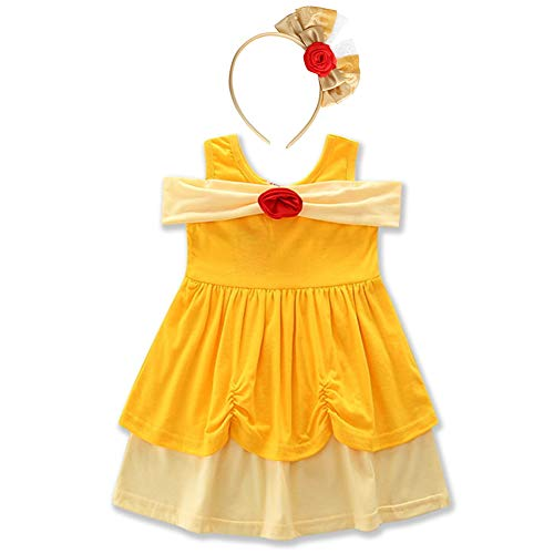 (Girls Princess Little Mermaid Snow White Dress Belle Minnie Ariel Kids Cosplay Birthday Party Cartoon Outfit Baby Yellow Costume Dress up Playwear Clothes # Belle Yellow & Headband 18-24)