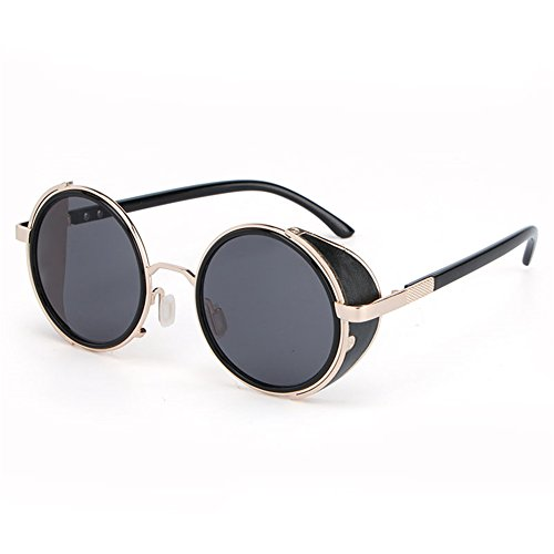 Lnabni Vintage Hippie Cyber Steampunk Round Circle Retro Metal Sunglasses with Sunglasses Case (Steampunk Clothing Men)