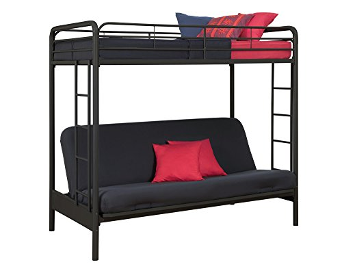 DHP TwinOverFuton Convertible Couch and Bed with Metal Frame and Ladder  Black