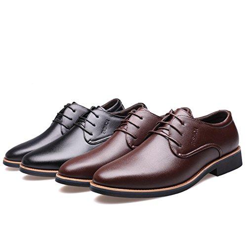 Zapatos de Work Business Zapatos Casual casuales Negro Cuero Marrón Formal y Black Trabajo Oxfords Oficina Hombre 1x656EwU