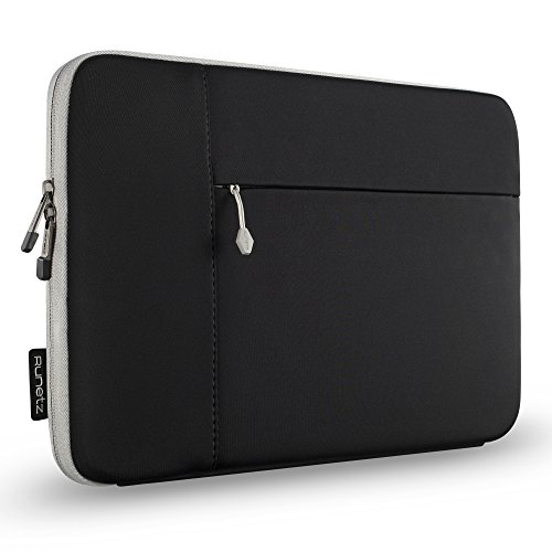 "Runetz Laptop Sleeve 13 inch Neoprene MacBook Sleeve Case - Perfect Mac Sleeve Cover with Pocket for Your MacBook Pro 13 inch Sleeve and MacBook Air 13.3"", Laptop Bag 13 inch Display Size - Black-Gray"