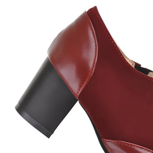 VogueZone009 Womens Closed Pointed Toe Mid Heel Chunky Soft Material PU Solid Pumps Red oJZFIXR