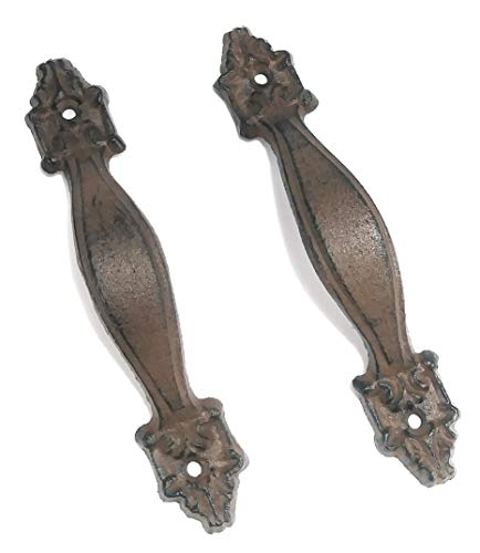 Aunt Chris' Products - [Lot/Set of 2] - Antique Flat Victorian Handle - Durable Cast Iron - Use Indoor Or Outdoor - Dark Brown Finish - Drawer Handle, Pull Shed, Door Handles, Trunk Handles, Ect.