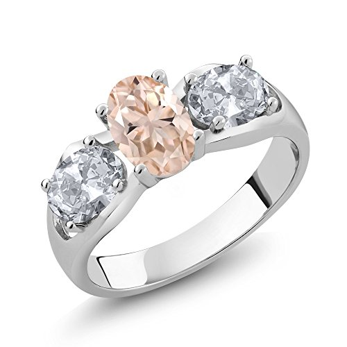 - Gem Stone King 1.65 Ct Oval Peach Morganite White Topaz 925 Sterling Silver 3-Stone Ring (Size 5)