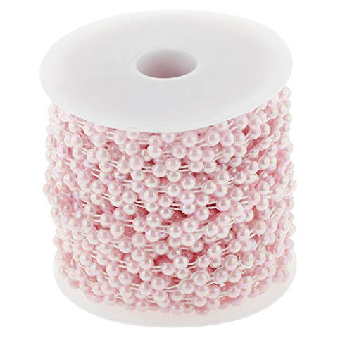 - 15m Pearl Bead String Christmas Decor Beads Favor DIY Wedding Party Accs |Color - Pink|