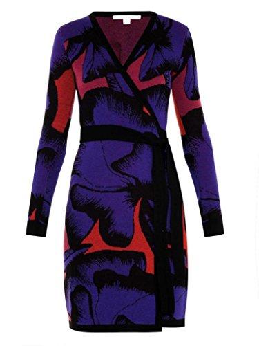 Diane von Furstenberg Leandra Wrap Wool Dress in POPPY LEOPARD PLACEMENT PINK -