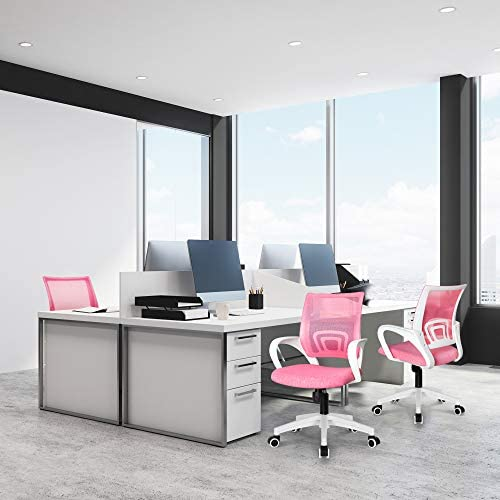 NEO CHAIR Office Chair Computer Desk Chair Gaming - Ergonomic Mid Back Cushion Lumbar Support With Wheels Comfortable Blue Mesh Racing Seat Adjustable Swivel Rolling Home Executive, Pink