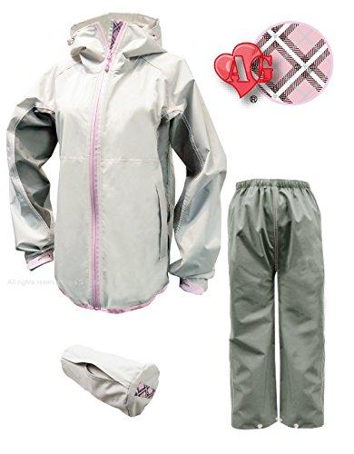 トオケミ(TOHKEMI) 【Field Equipage】 全天候型 アウトドア(透湿レイン) ウェア FE ストレッチ (スリムフィット) Rain Suit (#7900) + キャリーポーチ セット (色選択可能) B07BNBX2JS S (スリムフィット)|AG (プラチナホワイト) 入り AG (プラチナホワイト) 入り S (スリムフィット)