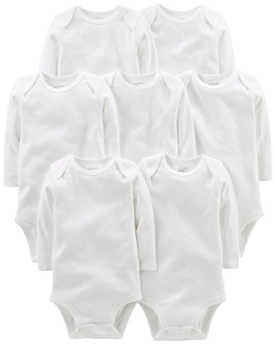 (Simple Joys by Carter's Baby 7-Pack Long-Sleeve Bodysuit, White, Newborn)