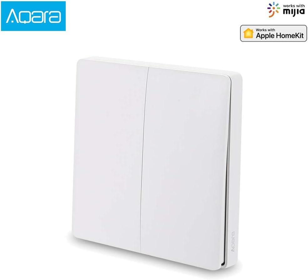 Aqara Interruptor Wifi Wireless Smart Switch[2020 Nueva Versión], interruptor inalambrico Compatible Con La para Mijia Y para Homekit, Control Remoto De App, No se necesita cable (2 Botón)