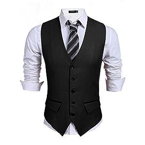 Coofandy Men's Casual Slim Fit Skinny Wedding Dress Vest Waistcoat