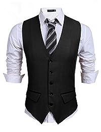 COOFANDY Men's V-Neck Sleeveless Slim Fit Jacket Casual Suit Vests