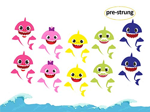 Customized Cardboard Cutouts (Shark Banner, Little Baby Shark Family Banner for Baby Shower Boy Girl kids Child Ocean Birthday Sea World Shark Baby Themed Birthday Decorations and Doo Doo Party)