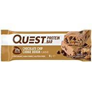 """Quest Nutrition Chocolate Chip Cookie Dough Protein Bar, High Protein, Low Carb, Gluten Free, Keto Friendly, 12 Count"""