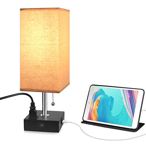 USB Table Desk Lamp with Outlet, USB Fast Charging Port Bedside Wooden Nightstand Lamp for Bedroom,Living Room,Office(Black - Night Stand Lamp For