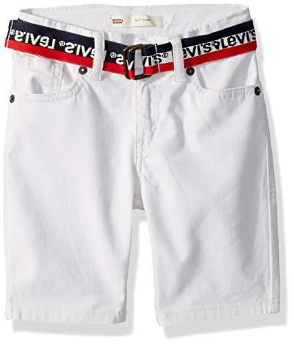 Levi's Boys' Toddler 511 Slim Fit Soft Brushed Shorts, Cloud Dancer Belted, 2T (Levi Shorts 2t Boys)