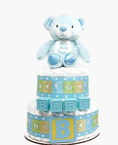 Blue Teddy Bear Diaper Cake, Baby Boy Diaper Cake, 2 Tier Diaper Cake With Plush Bear Rattle, Boy Baby Shower Centerpiece, Party Decor