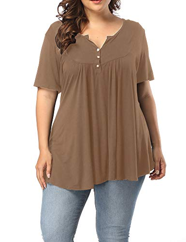 Allegrace Women's Plus Size Henley V Neck Button Up Tunic Tops Casual Short Sleeve Ruffle Blouse Shirts Coffee 1X (Plus Size 3 4 Sleeve Cotton Tops)