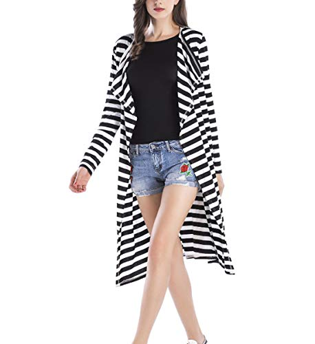 Sleeve Jltph Outwear Knitted Casual Spring Printed Cardigan Long Cappotto Stripe lungo Jackets Women AA4rX