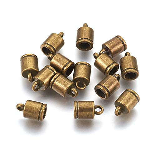Craftdady 100Pcs Antique Bronze Column Cord Ends 4mm Inner Diameter Tibetan Metal Glue on End Caps for DIY Tassel Chain Leather Jewelry Making with 2mm Hole
