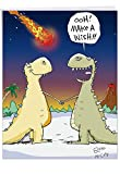 Funny Dinosaur 'Make A Wish' Happy Birthday Card (Big 8.5 x 11 Inch) - Big, Bold, Colorful Animal B-Day Wishes for Kids & Adults - Hilarious Prehistoric Congrats Greeting Card with Envelope J9735