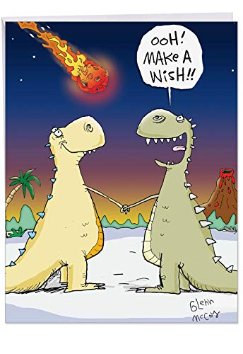 Prehistoric Animals Card - Funny Dinosaur Make A Wish Happy Birthday Card (Big 8.5 x 11 Inch) - Big, Bold, and Colorful Animal B-Day Wishes for Kids and Adults - Hilarious Prehistoric Congrats Greeting Card with Envelope J9735