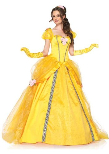 Disney Princess Belle Adult Costumes (Leg Avenue Disney 5 Piece Deluxe Belle Includes Dress and Head Piece, Yellow, Small)