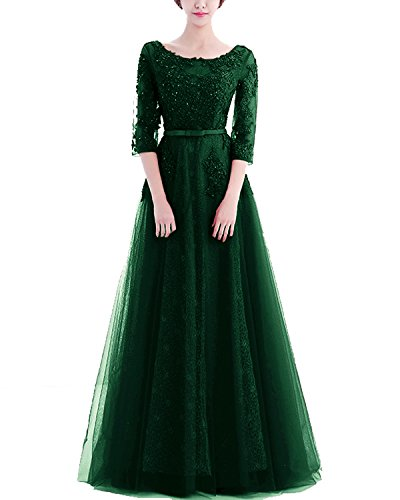 Abendkleider Ballkleid Lang Ärmeln Tüll Damen für Elegant LuckyShe mit Spitze Hochzeit Gr¨¹N gn4Xwq