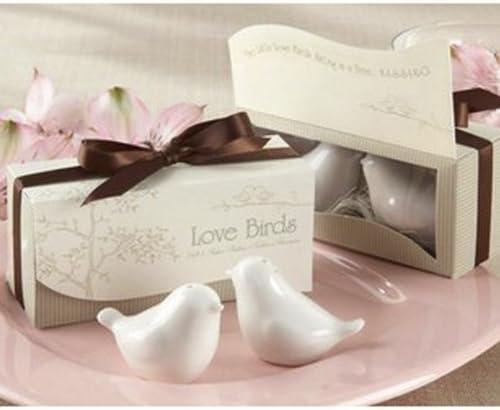 Love Birds Shakers ceramica 1 Set di Amore uccelli di ceramica sale e pepe personalizzato favori di nozze bianco R TOOGOO
