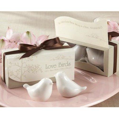 Wedding Favors Love Birds Ceramic Salt Pepper Shakers White