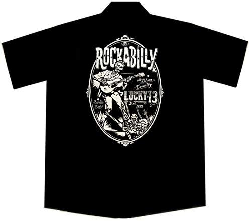 Camisa de trabajo Rockabilly Zombie Guitarra, Lucky 13, color negro, talla 4X