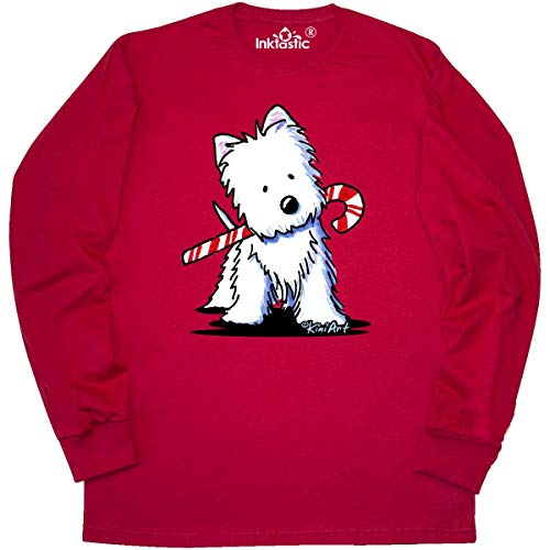 inktastic - Candycane Cutie Westie Long Sleeve T-Shirt Large Red - KiniArt 15334 ()