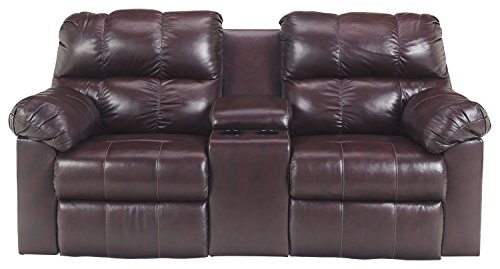 Signature Design by Ashley 2900096 Double Reclining Power Loveseat with Console, Burgundy