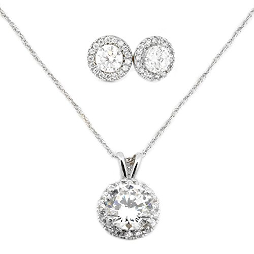 White Gold Pendant Earrings (14k White Gold Cubic Zirconia Halo Necklace and Earrings Set - 18