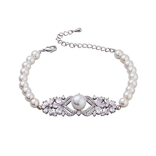 SWEETV Wedding Bridal Pearl Bracelet for Women,Brides,Bridesmaid-Round White Freshwater Cultured Pearl ()