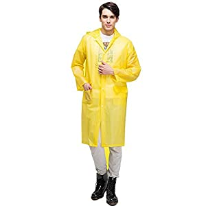 Aircee Lightweight Easy Carry Poncho Wind Hooded Jacket Raincoat (Yellow)